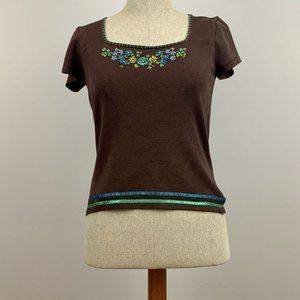 August Silk Short top with embroidery